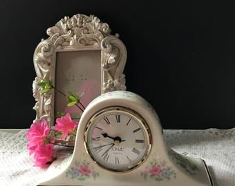 Lenoxlike Handpainted Mantel Clock Floral