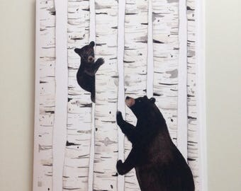 Bears in birch greeting card 4.25x5.5 blank inside