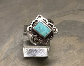 Size 7, Vintage sterling silver handmade ring, 925 silver with turquoise, southwestern style, stamped 925, signed