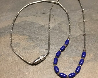 "16"", Vintage turquoise beads necklace, sterling silver 925 clasp with lapis lazuli and Sterling silver bar chain"