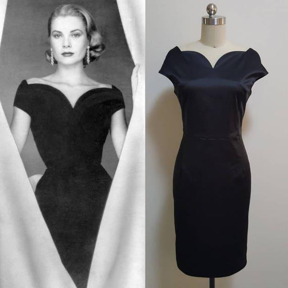 grace kelly midi evening dress vintage 50s black dress. Black Bedroom Furniture Sets. Home Design Ideas