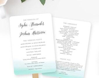Wedding Program Fan or Flat Wedding Program Templates - Printable Instant Download - Ocean Hues