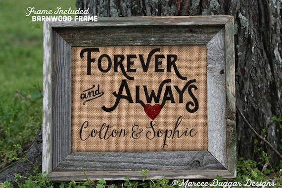 Framed Forever and Always Burlap Print | Wedding Gifts Personalized | Burlap Print | Love Dating Wedding | Anniversary Gift | 003