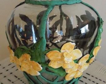 Unusual Lead Design on Glass Vase