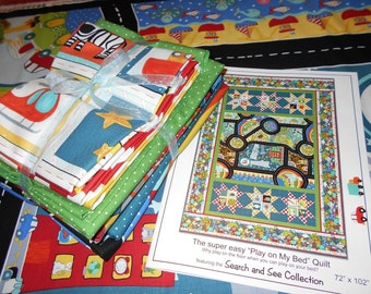 """Twin Size Quilt Kit! """"Search & See"""" Road for Baby Boys Toddler Baby 72""""X102"""" by Jennifer Heynen from In the Beginning Fabric"""