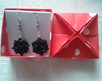 Earrings made of paper black origami crafts