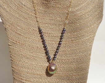 Coppery Plum Baroque Pearl Pendant Necklace