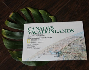 Vintage 1985 Map of Canada - National Geographic