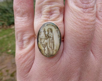 Rare Antique 1782 Georgian 15k Rose Gold Mourning Ring, Sepia Painted, Not Lost But Gone Before, Size 7