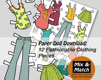 Bird and Flowers Fashions for Paper Dolls- Paper Doll Clothing- Digital Download- Printable Paper Dolls-Mix & Match