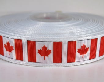 "5 yards of 7/8 inch ""Canada flag"" grosgrain ribbon"