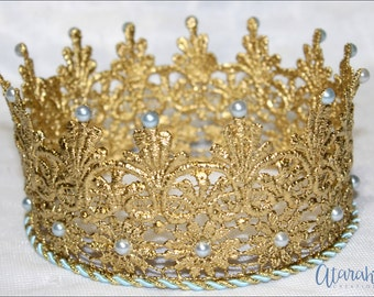 Gold crown Cake topper / Gold blue Crown Cake Topper / Cake Topper Photo Prop /MADE IN USA.