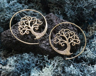 Tree Of Life Spiral Brass Earrings