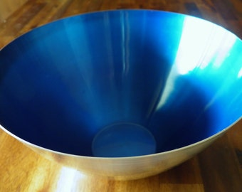 "1960's E. Dragsted (Denmark) Electric-Blue Centerpiece Bowl--Anodized Aluminum--5"" H x 9-1/2"" Dia. at Rim--Excellent Condition"