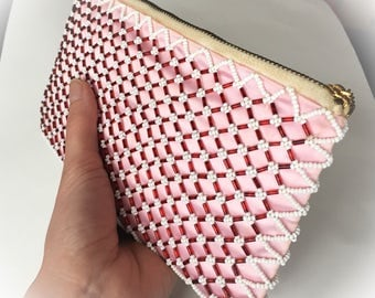 Vintage 1960s beaded evening bag clutch purse pink satin glass bugle beads