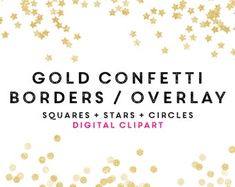 Fall Halloween Gold Confetti Clipart Overlay / Gold Glitter Circles Stars  Squares / Commercial Use / Logos Invitation Blog Weddings shower