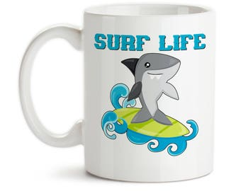 Coffee Mug, Surf Life, Id Rather Be Surfing, Shark Surfing, Shark Gift, Shark Mug, Shark Week, Shark Art, Gift Idea, Large Coffee Cup