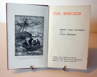 The Wrecker R.L. Stevenson Vintage 1906 book Red old book Antique books