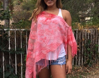 Lace poncho,pink,half poncho,off the shoulder,Shawl ,Scarf ,Fringed wrap