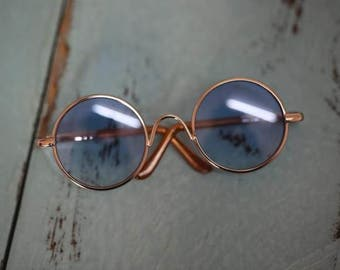 Blythe round sunglasses Glasses blue and gold brown