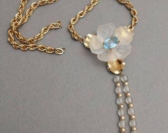white flower necklace | powder blue stone | neckline jewelry