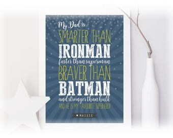 My Daddy Is My Favourite Superhero Personalised Print