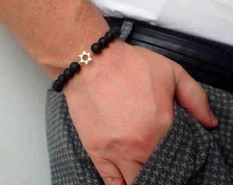 Black onyx Bracelet men, star of David bracelet, Healing bracelet men, onyx bracelet. Men's Gemstone Beaded Bracelet  Gift for Him
