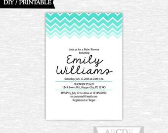 Teal Turquoise Aqua Chevron Baby Shower invitation DIY Printable (CHE104)
