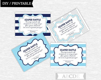 Instant Download Blue and Navy Nautical Baby Shower Party Diaper Raffle cards Baby shower DIY Printable (SWN104)