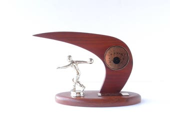 Mid-Century Modern Bowling Trophy - Father's Day Gift - 1960's Vintage Sport Trophy - Man Cave Decor - Gifts for him