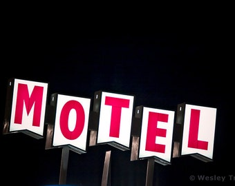 Midcentury Motel Sign - Roadside Googie Motel Photograph