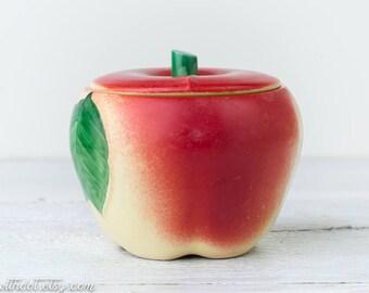 Vintage Apple Jar - Ceramic Jar with Lid - Apple Kitchen Decor - Hull