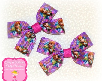 Frozen Hair Bow ~ Anna Hair Bow ~ Small Frozen Bow ~ Frozen Clippies ~ Frozen Pigtails ~ Princess Hair Bow ~ Pink & Purple Bow ~ Pink Frozen
