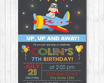 Plane Invitation, Air Plane Boy Birthday Airplane Invitation, Plane Invite, 1st,2nd,3rd,4th Birthday Invitation, chalkboard, printable