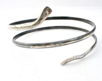 Snake Bangle Bracelet, Arm Band, Sterling Silver, Serpent Jewelry, 925 Snake Bracelet, Vintage Jewelry, Serpent Bracelet