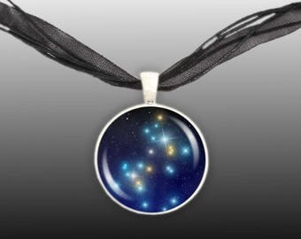 """Great Dog Constellation Canis Major Illustration 1"""" Pendant Necklace in Silver Tone"""