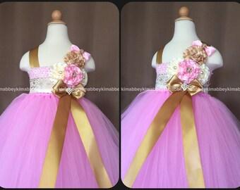 Flower girl tutu dress pink gold ivory