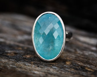 Aquamarine Ring 8 - Aquamarine Checkerboard Cut 8 - Genuine Aquamarine and Sterling Silver Ring - Aquamarine Ring - Beautiful Blue Aqua Ring