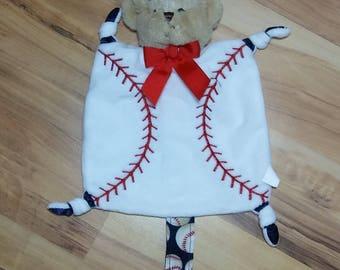 Teddy Bear Snuggle Baseball Pacifier Clip