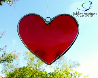 Red Heart Stained Glass Sun Catcher Tiffany Glass Heart Suncatcher Made to Order Valentine Gift Idea