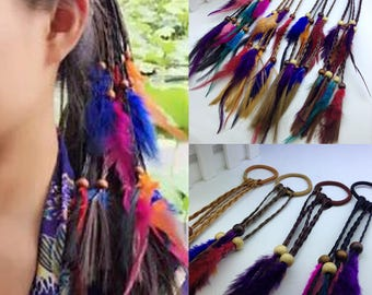 5 PC dreadlock beads Feather Hair Extensions Bohemian pendant