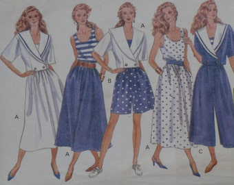 Butterick 4736 Pattern Misses' Sailor Nautical Top Skirt Culottes Jacket Shorts Size 18 20 22 Uncut