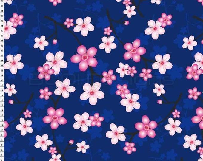 Coordinate to the Kokeshi Swim Panel, Blossom Navy Boutique Brand Swim Knit Fabric by Boo Designs of Australia