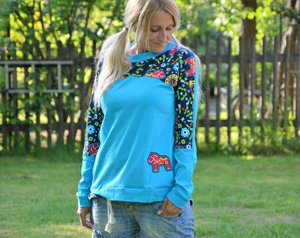 Long sleeve pullover Raglan shirt pattern light blue