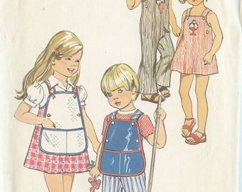 Simplicity 6302 Child's Dress or Jumper and Overalls with Bib Size 4 Sewing Pattern