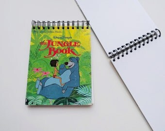 Disney Jungle Book Little Golden Book Upcycled Sketchbook Notebook, Drawing Pad