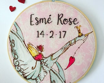 Personalized nursery decor. Baby name sign. Nursery wall art. Baby gift, baptism gift. Personalised embroidery hoop art. Custom wall hanging