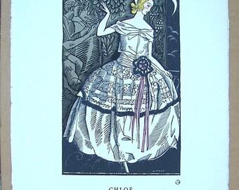 Vintage Fashion Illustration print, Vintage Wall decor French art print, Art Deco Print poster, Simeon, De Beer, Chloe, Gazette Du Bon Ton