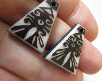 X2 Tagua Nut Bead/Vegetable Ivory with handcarved tribal or precolombian ethnic totem for earrings or pendants