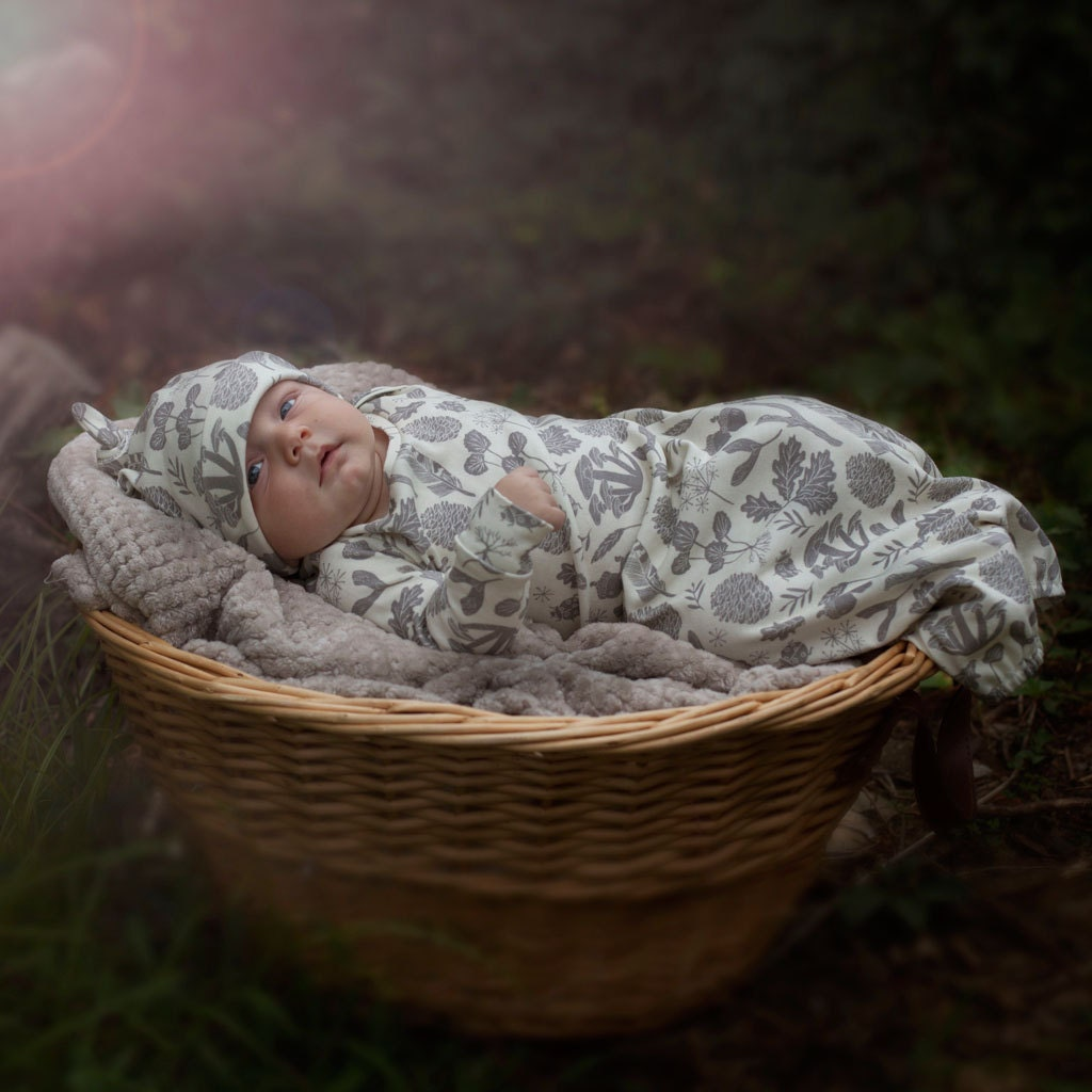 organic newborn gown woodland baby clothes infant gown